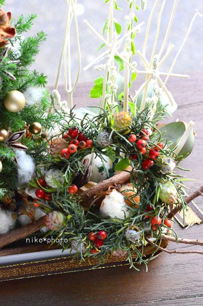 クリスマス ツリー アレンジメント リース